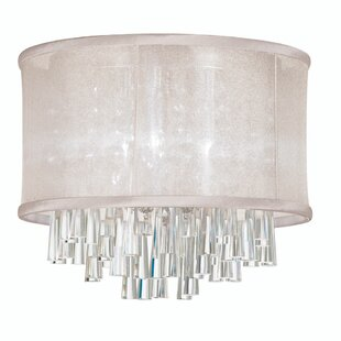 Everly Quinn Leonardo 4-Light Crystal Flush Mount