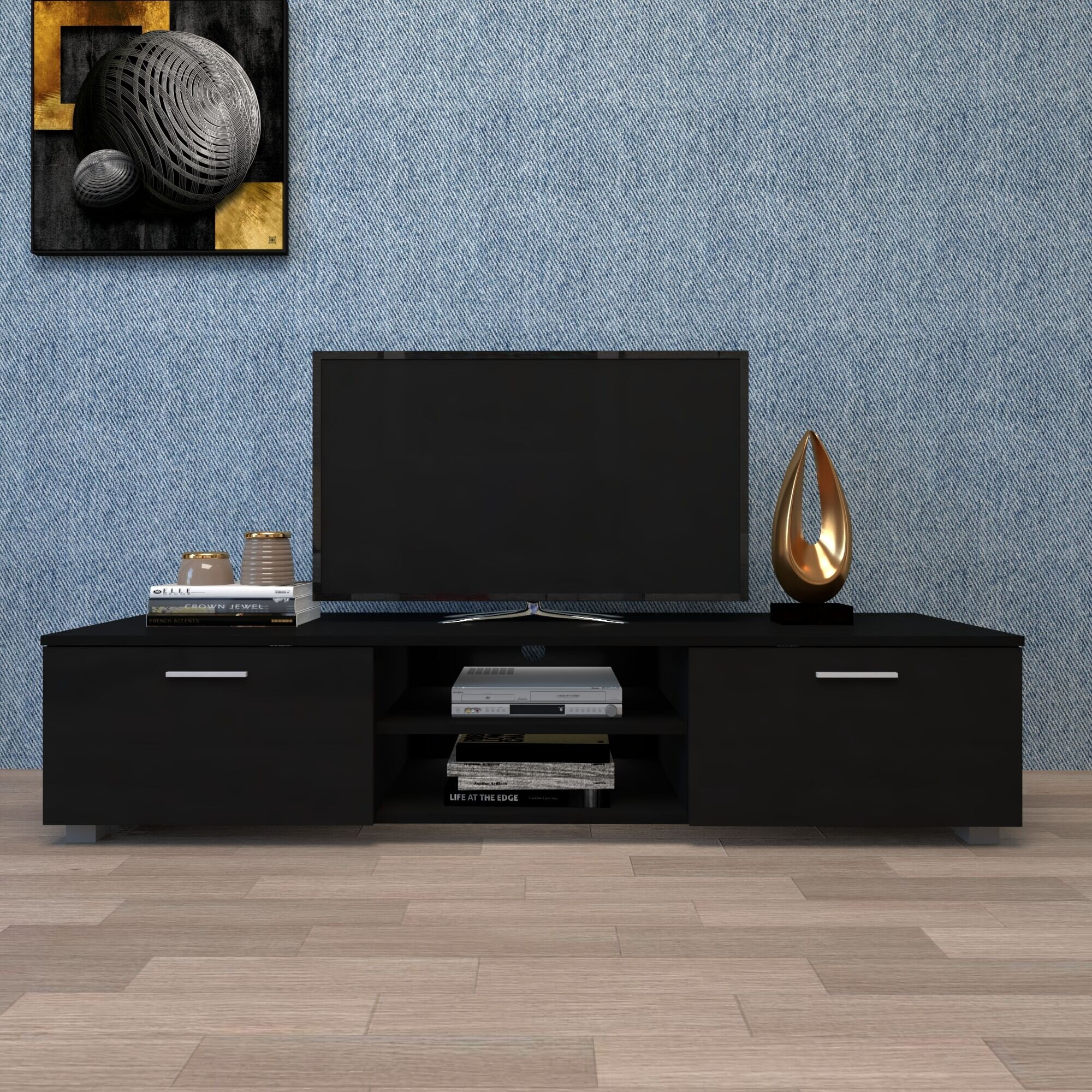 Latitude Run® Black TV Stand For 70 Inch TV Stands, Media Console
