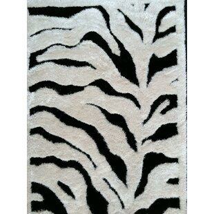 Affordable Price Trina Hand Tufted Black/White Area Rug By Bloomsbury Market