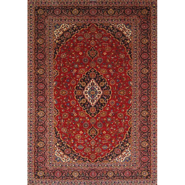 Pasargad One Of A Kind Kashan Hand Knotted 8 2 X 11 5 Wool Red Black Ivory Area Rug Wayfair
