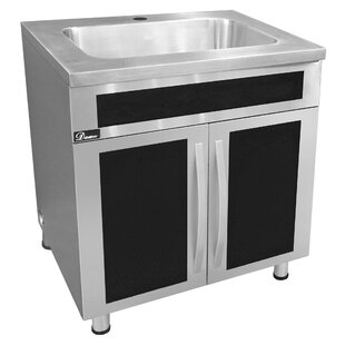 30 X 16 Drop In Kitchen Sink 23 With Built Garbage Can And Black Tempered Gl Panels