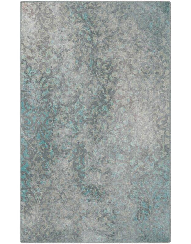Bungalow Rose Jenna Trellis Blue Area Rug, Size: Rectangle 76 x 10