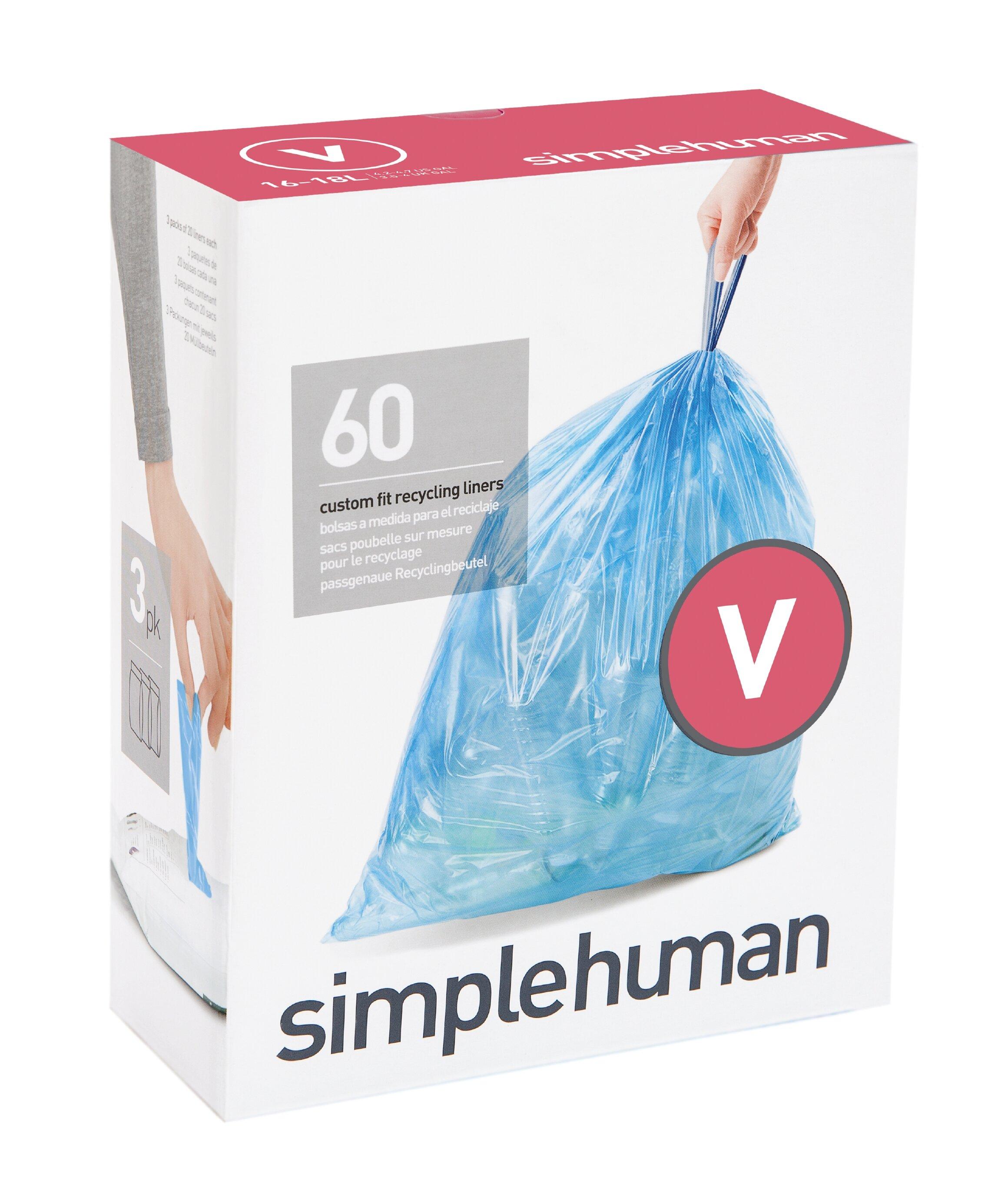 simplehuman Code V Custom Fit Recycling Trash Can Liner, 3 refill ...