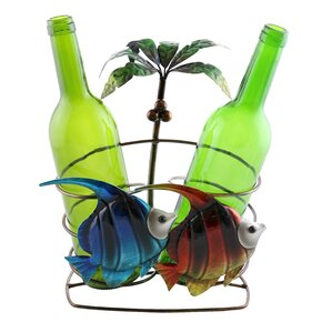 Isabella Fish and Palm Tree 2 Bottle Tabletop Wine Rack by Highland Dunes