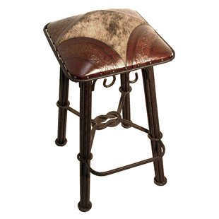 Chaucer 30 Metal Bar Stool with Leather Seat (Set of 6) Fleur De Lis Living
