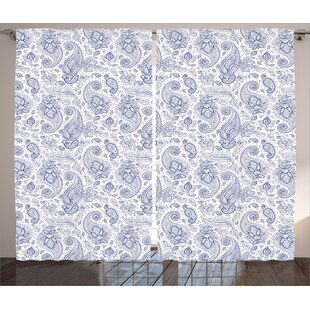 Stratton Paisley Abstract Backgrounded Hand Drawn Pattern with Flowers Leaves and Buds Graphic Print & Text Semi-Sheer Rod Pocket Curtain Panels (Set of 2) by Red Barrel Studio