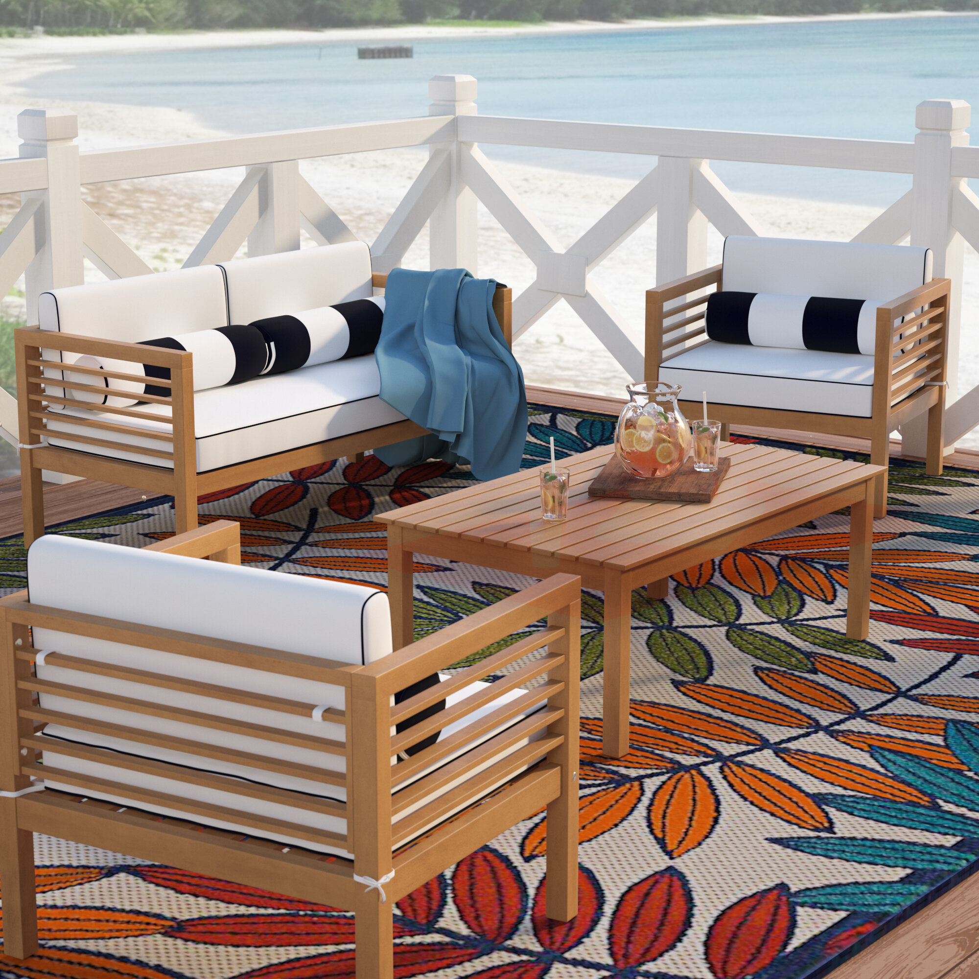 Charmant Beachcrest Home Daytona 4 Piece Teak Sofa Set With Cushions U0026 Reviews |  Wayfair