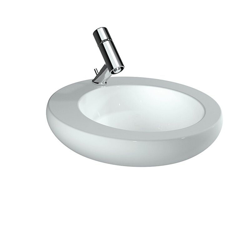 Laufen Ilbagnoalessi One White Ceramic Circular Vessel Bathroom Sink With Overflow Perigold