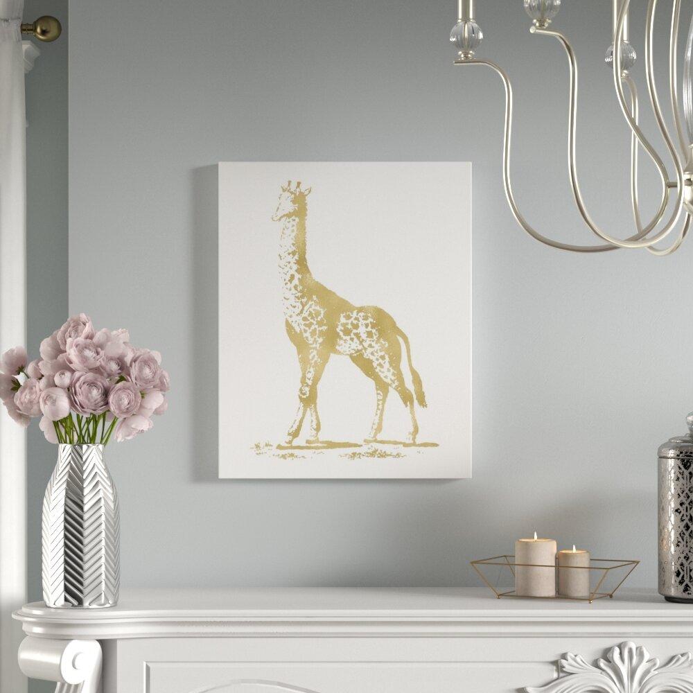 Mercer41 Giraffe Graphic Art On Wrapped Canvas Wayfair