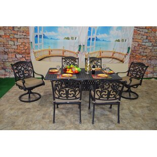 Nola 7 Piece Sunbrella Dining Set with Cushions by Darby Home Co