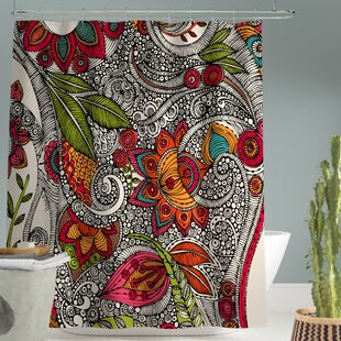 Renfro Random Flowers Single Shower Curtain