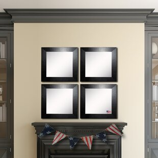 Orren Ellis Osibodu Black Wide Leather Wall Mirror (Set of 4)