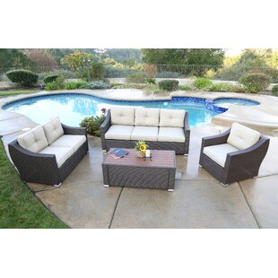 Latitude Run Leath 4 Piece Sofa Set with Cushion