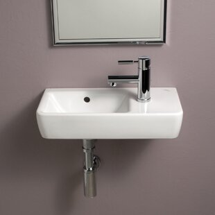 Comprimo Ceramic 20 Wall Mount Bathroom Sink with Overflow Bissonnet