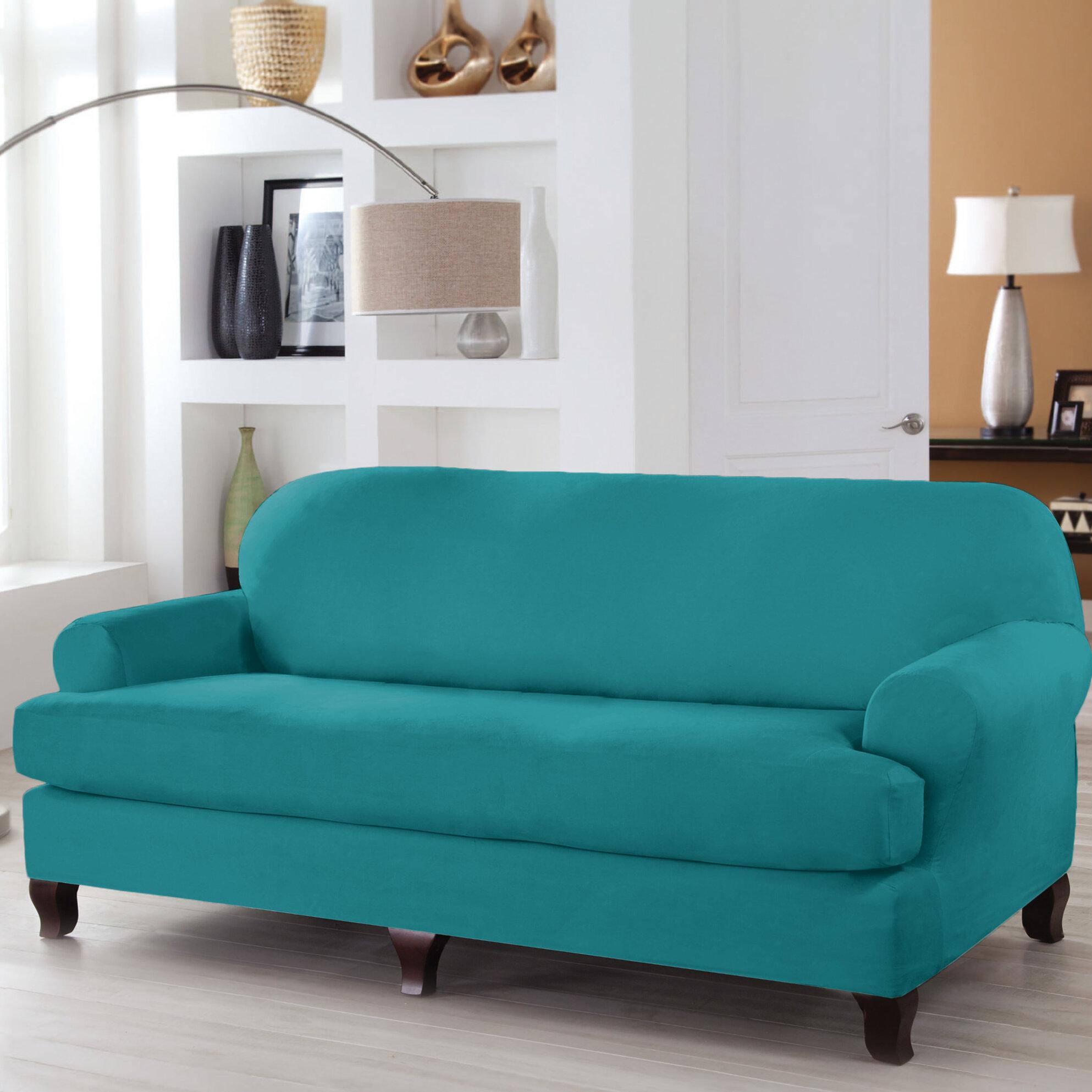 Serta® Stretch Fit T-Cushion Sofa Slipcover & Reviews | Wayfair
