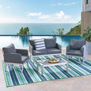 Oakhill Outdoor 4 Piece Seating Group with Cushions by Wrought Studio