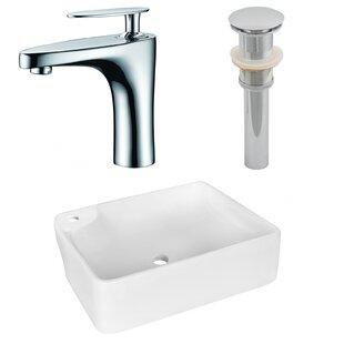 Buying Ceramic Rectangular Vessel Bathroom Sink with Faucet ByAmerican Imaginations