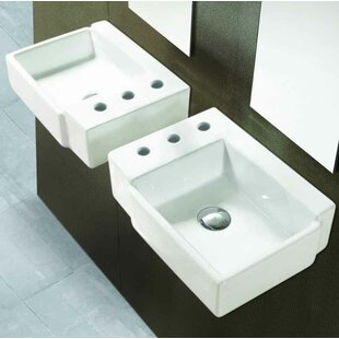 American Imaginations Ceramic Rectangular Bathroom Sink with Faucet