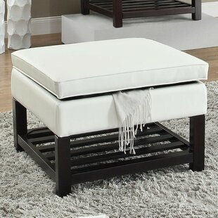 Melrose Slatted Leather Storage Ottoman