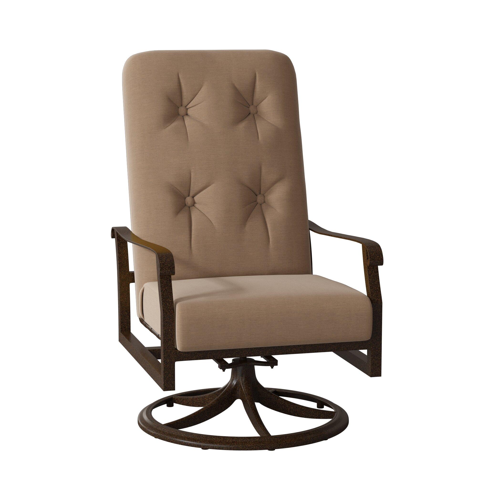 Cortland High Back Swivel Rocking Chair With Cushions