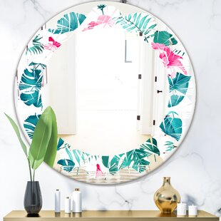 Leaves Tropical Botanicals and Flowers Coastal Wall Mirror by East Urban Home