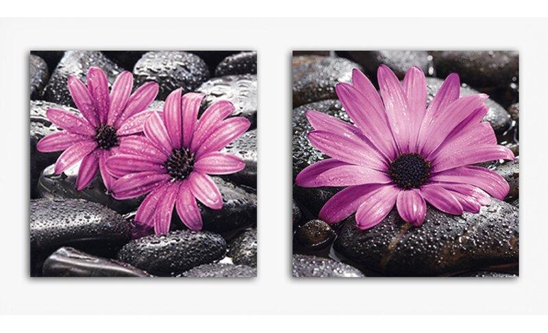 Deco Glass Fancy Flowers 2 Piece Photographic Print Set