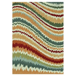 Enzo Hand-Hooked Green/Brown Indoor/Outdoor Area Rug