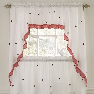 Embroidered Ladybug Meadow Kitchen Curtain Valance by Sweet Home Collection