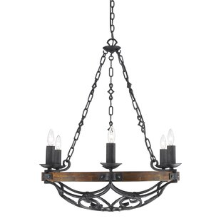 Bacchus 6-Light Wagon Wheel Chandelier by Three Posts