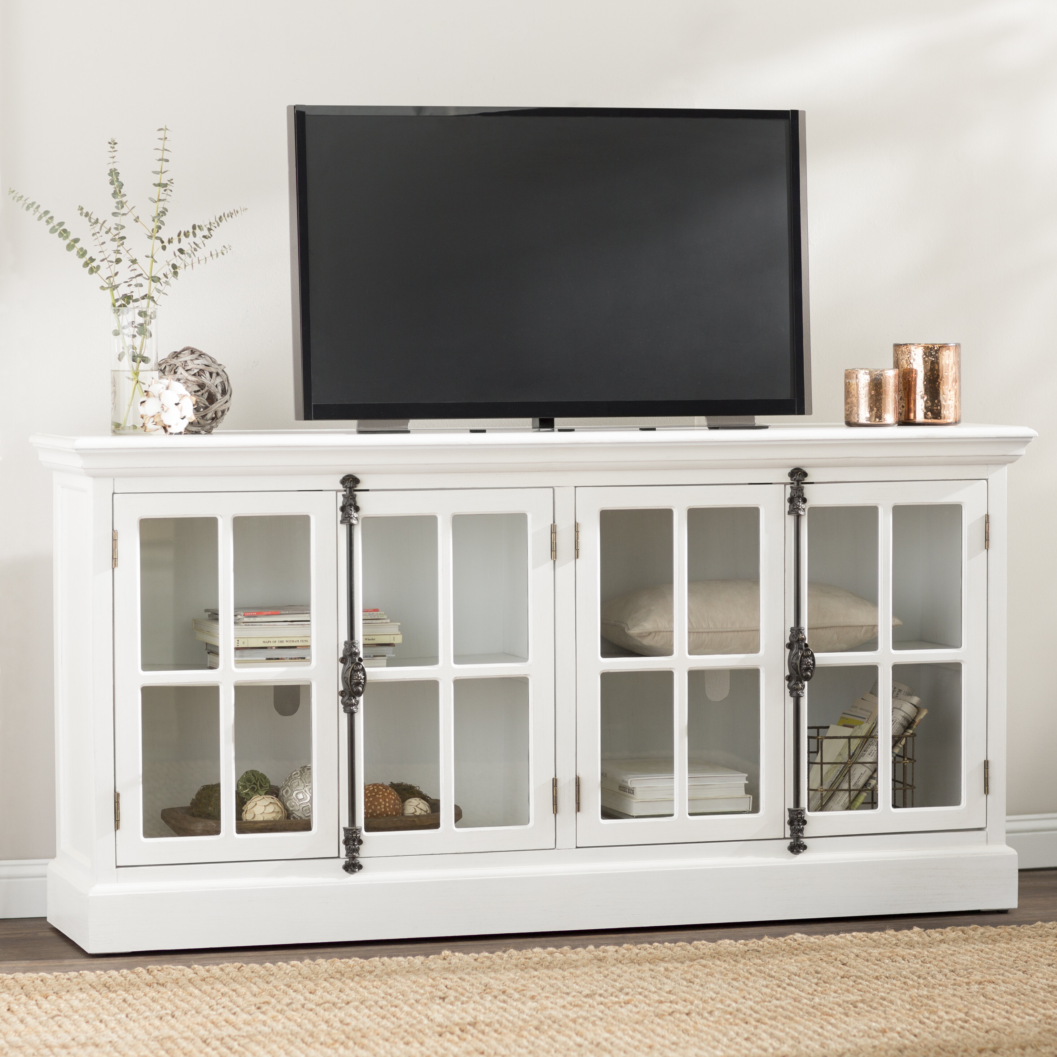 Black TV Stand Media Storage Entertainment Center Flat Screen Eco Friendly