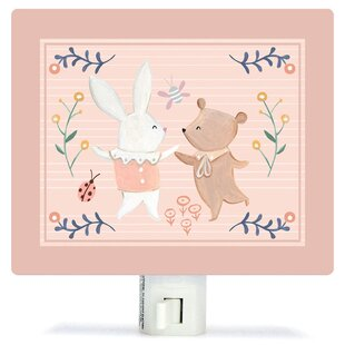 Oopsy Daisy Non-Personalized Bunny and Bear Dancers Canvas Night Light