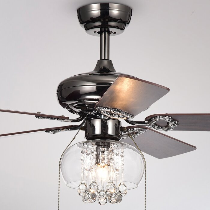 5 Lake Macquarie Crystal Blade Ceiling Fan Light Kit Included