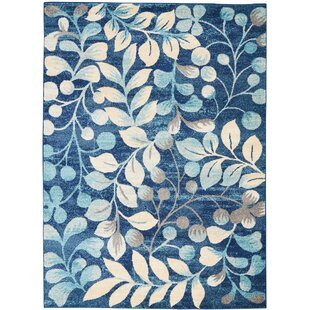 Monte Contemporary Botanical Navy Area Rug by Winston Porter