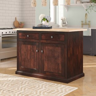Meredith Kitchen Island with Butcher Block Top