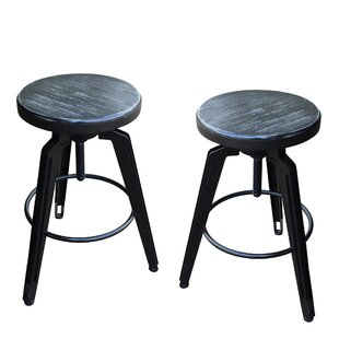 Dortch Adjustable Height Swivel Bar Stool (Set of 2) by Ebern Designs