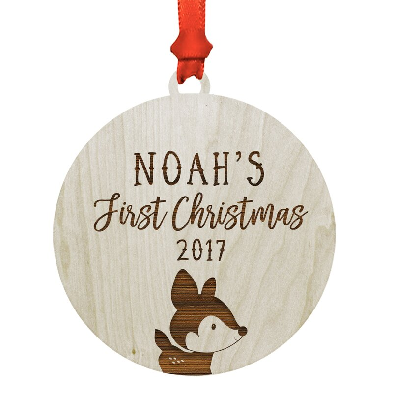 The Holiday Aisle Personalized Baby S First Christmas Woodland Deer Ball Ornament Reviews Wayfair
