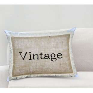 Handcrafted Sentiment in Vintage Cotton Lumbar Pillow