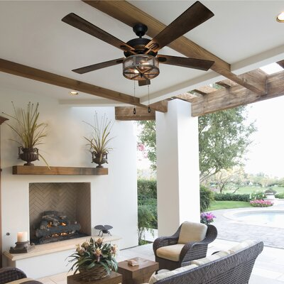 17 Stories 52 inch Abbigail Woodgrain Caged Farmhouse 5 Blade LED Ceiling Fan with Remote Light Kit Included