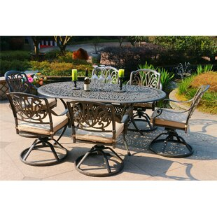 Baltazar Aluminum 7 Piece Sunbrella Dining Set with Sunbrella Cushions by Canora Grey