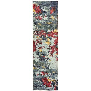 Knox Aged Stone Blue/Red Area Rug