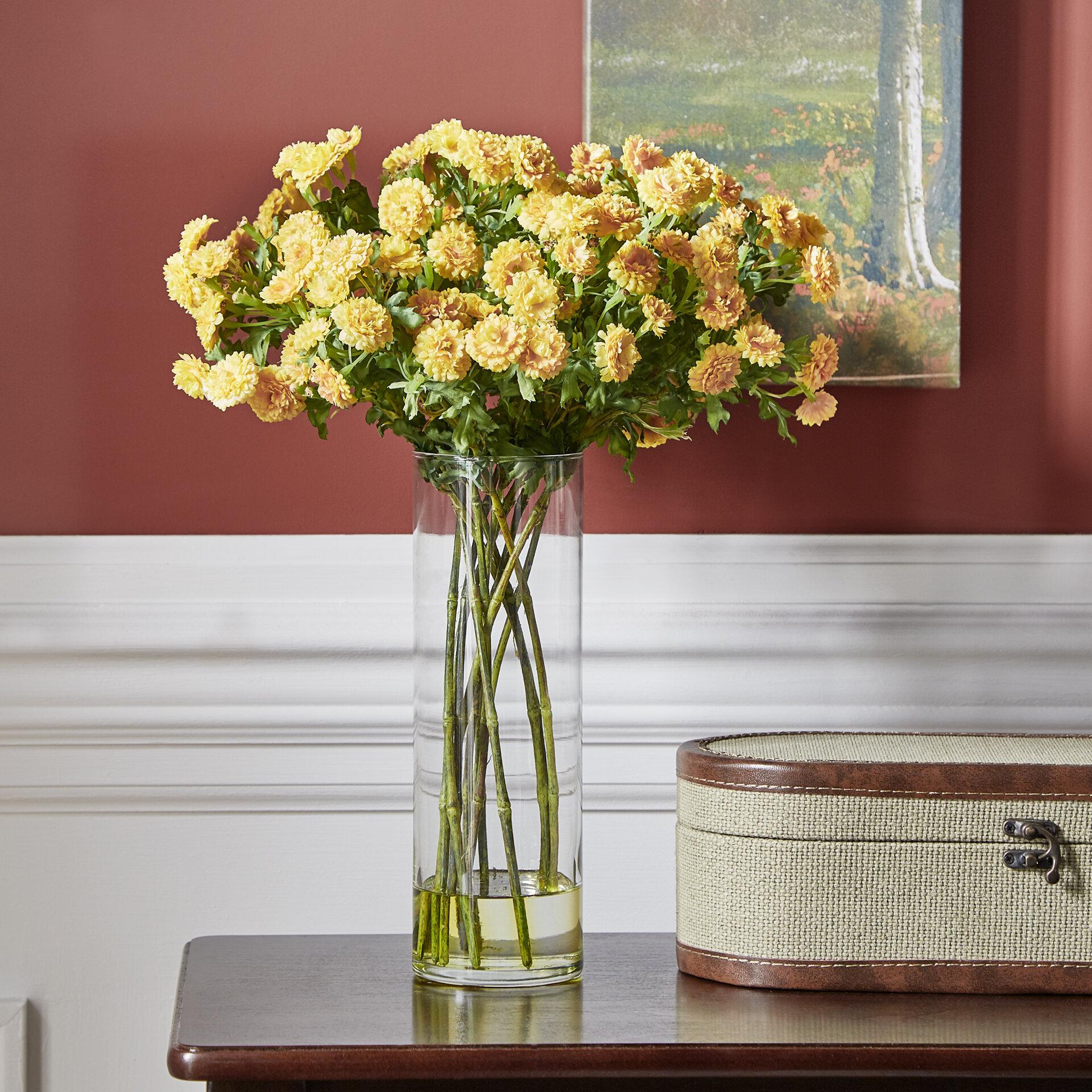 Home Decor Floral Table Japanese Yellow Silk Flower Arrangement Tall Glass Vase