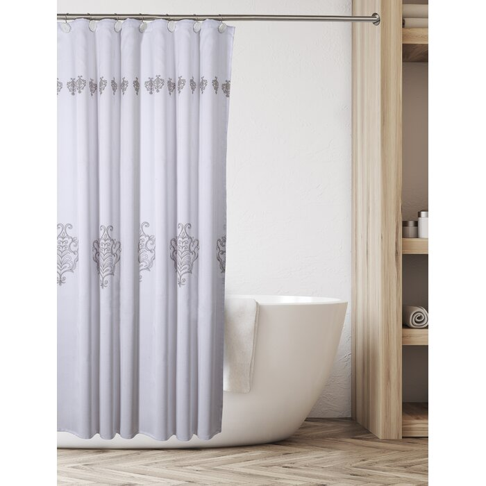 Vintage White Decorative Fabric 2 Piece Single Shower Curtain With Free Liner