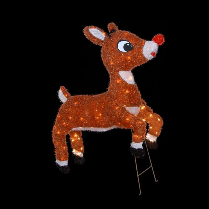 soft tinsel rudolph the red nosed reindeer christmas decoration with lights with lights