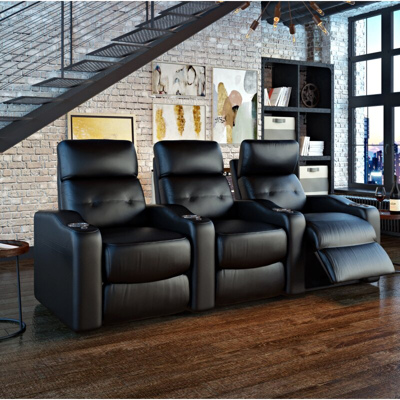 Ebern Designs Power Leather Home Theater Sofa | Wayfair