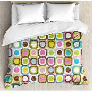 East Urban Home Retro Abstract Grunge Background with Geometric Cubes Inner Circles Artful Graphic Design Duvet Set