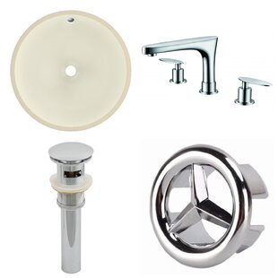 Inexpensive CUPC Ceramic Circular Undermount Bathroom Sink with Faucet and Overflow By American Imaginations