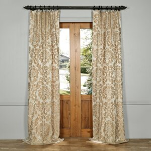 Ballycraigy Faux Silk Jacquard Naturer/Floral Rod Pocket Single Curtain Panel