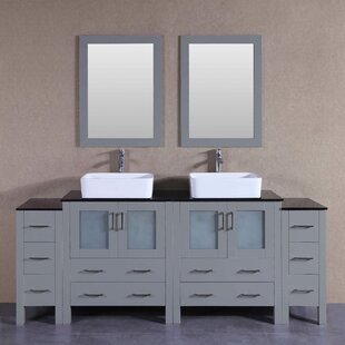 Katherine 84 Double Bathroom Vanity Set with Mirror by Bosconi