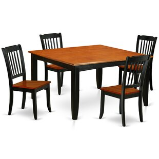 Lamberton 5 Piece Extendable Solid Wood Dining Set