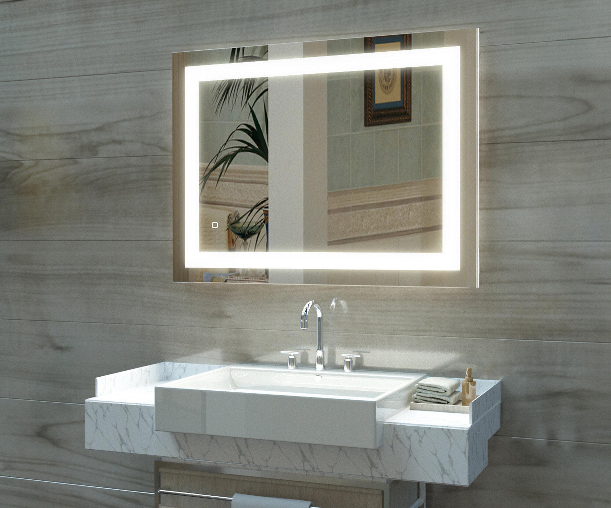 Orren Ellis Onycha Modern Frameless Lighted Bathroom Vanity Mirror Wayfair